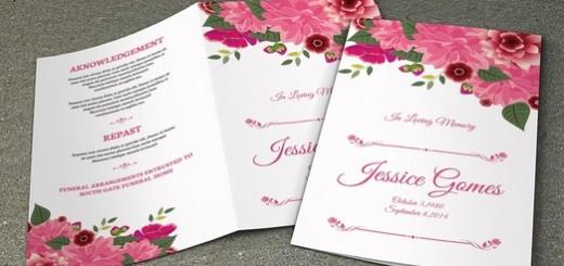 Floral Funeral Program Template-V212