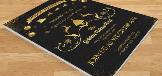 Golden Christmas Invitation-V101